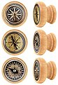 Lashuma Möbelgriff »Kompass« (Set, 6-St), Möbelgriffe aus Holz 4 cm Ø, Runde Möbel Knöpfe mit Kompass-Motiv, Bild 1