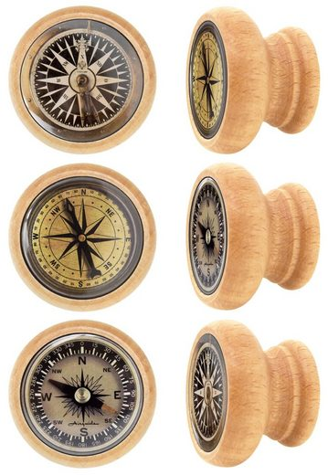 Lashuma Möbelgriff »Kompass« (Set, 6-St), Möbelgriffe aus Holz 4 cm Ø, Runde Möbel Knöpfe mit Kompass-Motiv