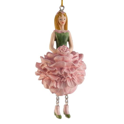 ROSEMARIE SCHULZ Heidelberg Dekofigur »Blumenmädchen Pfingstrose zum Hängen Dekohänger Kunstblume«, Handbemalte Figur aus Polyresin