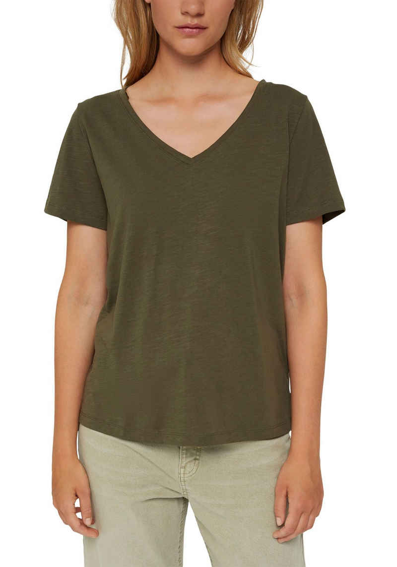 edc by Esprit T-Shirt mit tiefem V-Ausschnitt