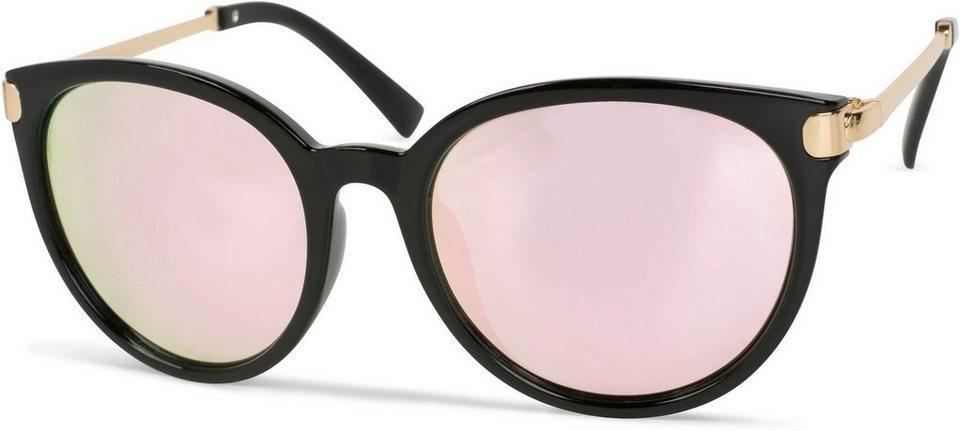 Metall Rahmen 09020120 styleBREAKER Damen Runde Sonnenbrille mit get/önten Polycarbonat Gl/äsern und Glitzer Side Shield