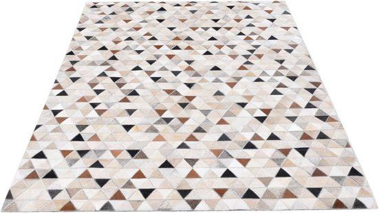 Fellteppich »Kobe«, THEKO, rechteckig, Höhe 3 mm, Patchwork, echtes Rinderfell in Naturtönen, Wohnzimmer