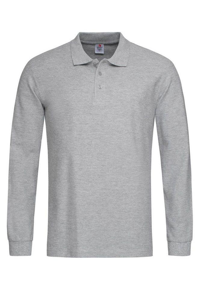 stedman -  Langarm-Poloshirt mit Ton-in-Ton-Knopfleiste