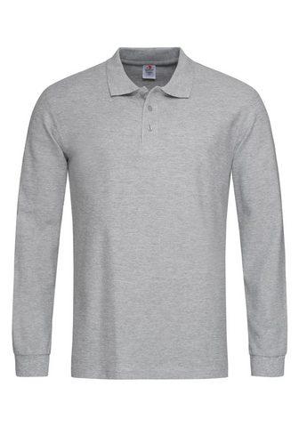 Stedman Langarm-Poloshirt su Ton-in-Ton-Knopfl...