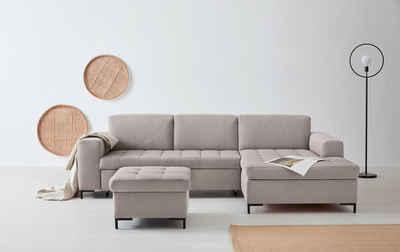 OTTO products Ecksofa »Grazzo«, hochwertige Stoffe aus recyceltem Polyester, Steppung im Sitzbereich, wahlweise mit Bettfunktion und Bettkasten