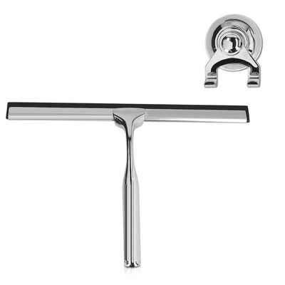 Navaris Wasserabzieher, Duschabzieher Edelstahl mit Saugnapf Halter - Abstreifer Abwischer Abzieher für Dusche Fliesen Spiegel - Glas Reiniger mit Gummilippe
