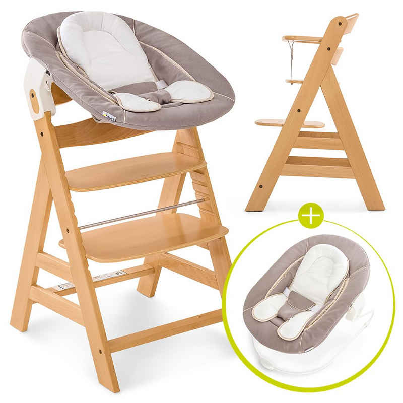 Hauck Hochstuhl »Alpha Plus Natur - Newborn Set« (Set, 4 Stück), Holz Hochstuhl ab Geburt + Neugeboreneneinsatz & Wippe