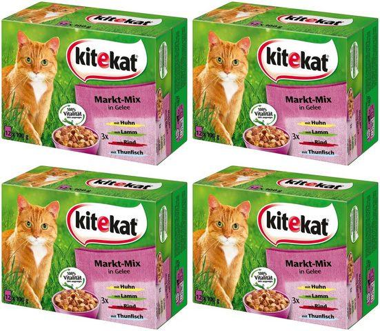 Kitekat Nassfutter »Markt-Mix in Gelee«, 4 Pakete mit je 12 Beuteln á 100 g
