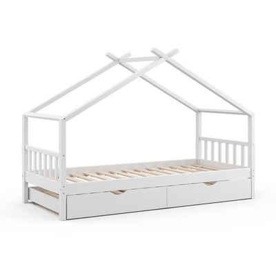 VitaliSpa® Kinderbett »DESIGN HausbettGästebett Lattenrostweiß 90x200 Schublade«