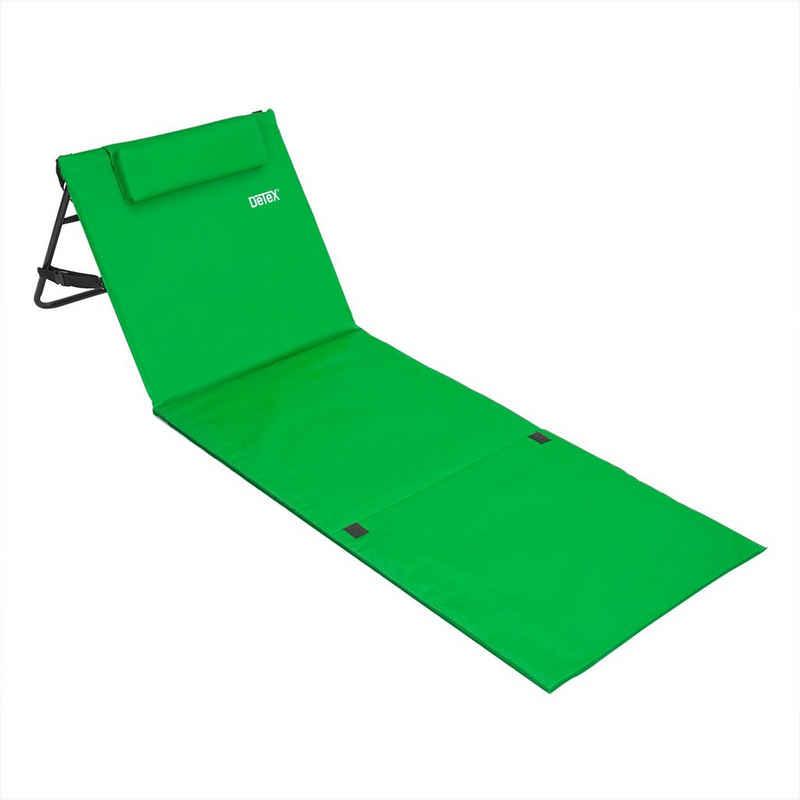 Deuba Gartenliege Strandmatte Gepolstert Kopfkissen Faltbar Verstellbare Rückenlehne Staufach Badematte Liegematte Isomatte Grün