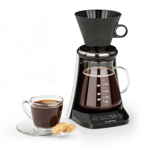 Klarstein Filterkaffeemaschine craft coffee Waage Timer Glaskanne Filteraufsatz 600ml schwarz/weiß, 0l Kaffeekanne