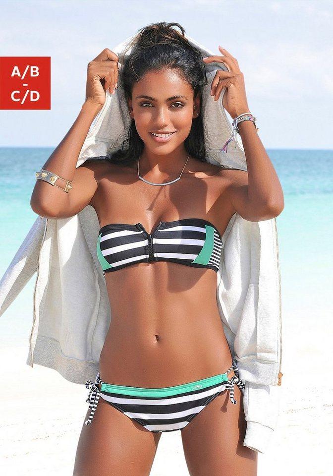 Bademode - KangaROOS Bandeau Bikini Top »Anita«, mit Reißverschluss zwischen den Cups › schwarz  - Onlineshop OTTO