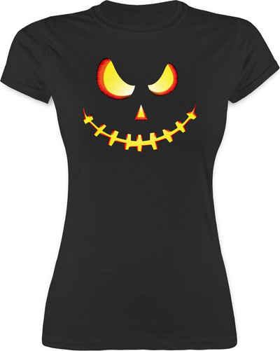 Shirtracer T-Shirt »Gruseliges Kürbis-Gesicht - Halloween Kostüm Outfit - Damen Premium T-Shirt« Helloween