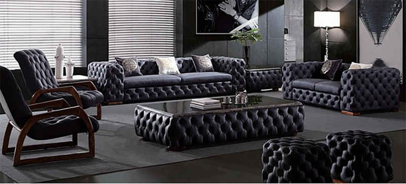 JVmoebel Chesterfield-Sofa, Chesterfield 3+2 Sitzer Garnitur Sofa Couch