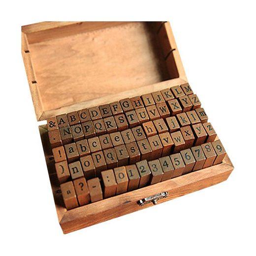 kueatily Stempel »Alphabet Stempelset, 70-teilig, Alphabet Buchstaben, Zahlen, Symbole Set mit Aufbewahrungsbox, für Kunst, Kunsthandwerk«