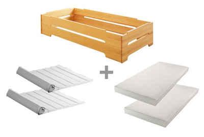 BioKinder - Das gesunde Kinderzimmer Stapelbett »Kai«, 2er Set 90x200 cm Gästebett mit Lattenrost und Matratze