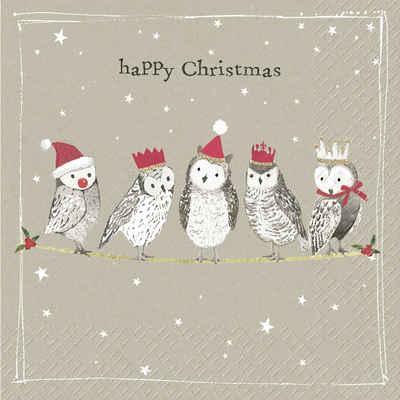 stewo Papierserviette »Eulen Weihnacht«, (5 St), 33 cm x 33 cm