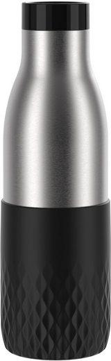 Emsa Trinkflasche »Bludrop Sleeve«, nachhaltig, wiederverwendbar, Flasche aus Edelstahl, Manschette aus Silikon, Quick-Press Verschluss, ergonomischer 360° Trinkgenuss, 12h warm 24h kühl, Deckel spülmaschinenfest, auslaufsicher