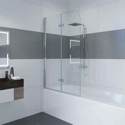 IMPTS Badewannenaufsatz, Glas Alu, (2 tlg., 2 TLG), 100*140cm klappbar Faltwand,Duschabtrennung,Duschwand für Badewanne