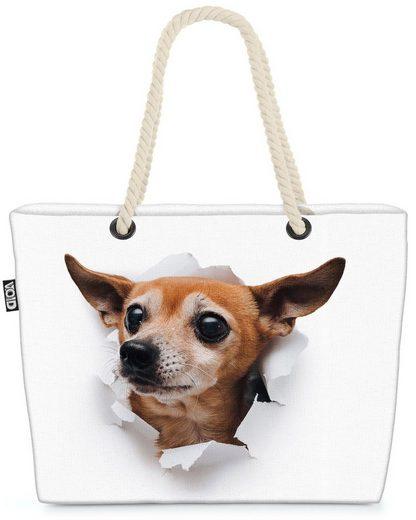 VOID Strandtasche (1-tlg), Russischer Toy Hund Beach Bag Russkiy Toy Hund Haustier Tier Welpe Frenchie