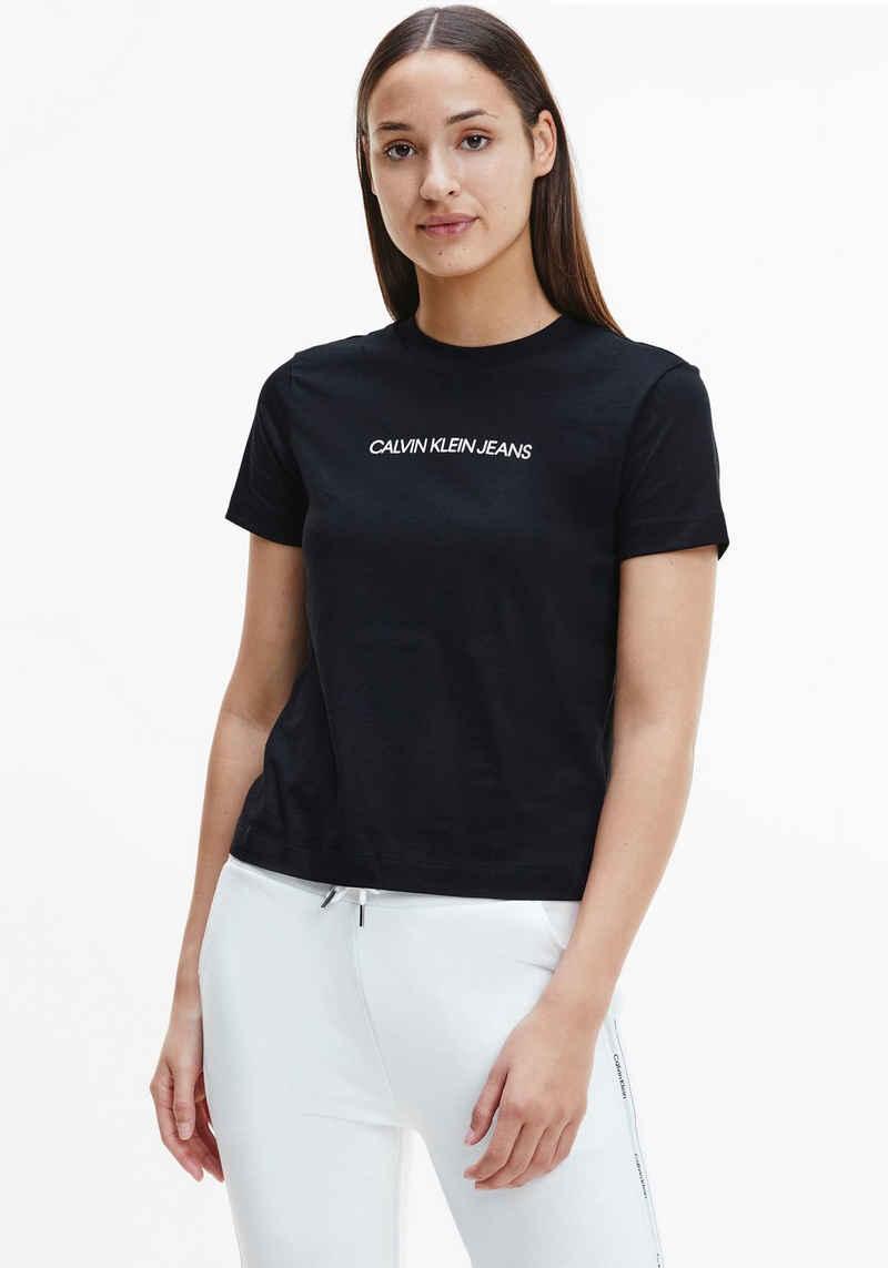 Calvin Klein Jeans Rundhalsshirt »SHRUNKEN INSTITUTIONAL TEE« mit Calvin Klein Jeans Logo-Schriftzug