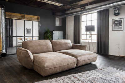 KAWOLA Big-Sofa »Davito«, Longchair Stoff braun