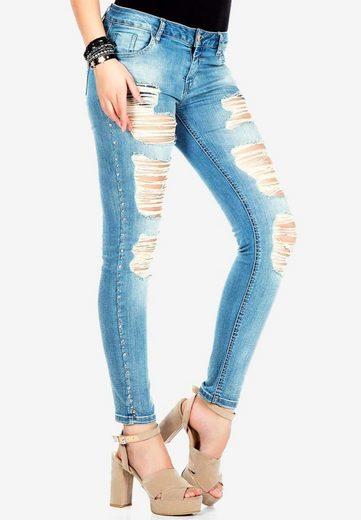 Cipo & Baxx Slim-fit-Jeans mit cooler Riss-Struktur in Slim Fit