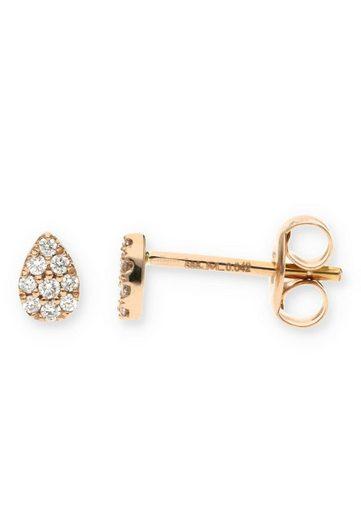 JuwelmaLux Paar Ohrstecker »Ohrstecker Rotgold mit Diamant(en)« (2-tlg), Damen Ohrstecker Rotgold 585/000, inkl. Schmuckschachtel
