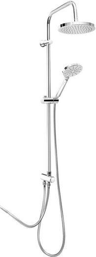 CORNAT Duschsystem »DESIGN Duschsystem rund chrom«, Höhe 8 cm, Set, Anitkalk-Noppen