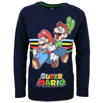 Super Mario Langarmshirt »Mario und Luigi Kinder Shirt« Gr. 104 bis 152, 100% Baumwolle