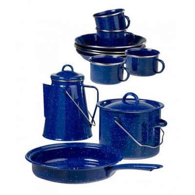 A. Blöchl Geschirr-Set »Kochset Western, blau emailliert neu (4 Personen / 13-tlg)« (13-tlg), emaillierter Stahl, Kochset im Western Style