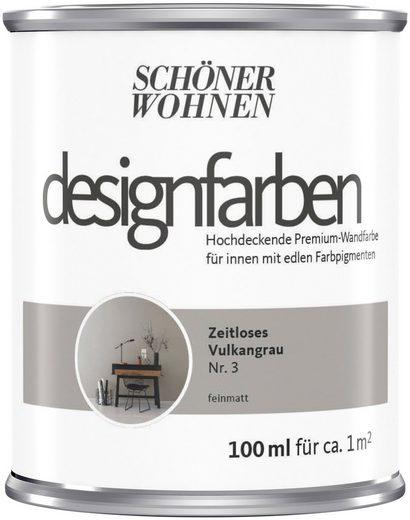 SCHÖNER WOHNEN-Kollektion Wand- und Deckenfarbe »Designfarben«, hochdeckend, Zeitloses Vulkangrau, matt, 0,1 l