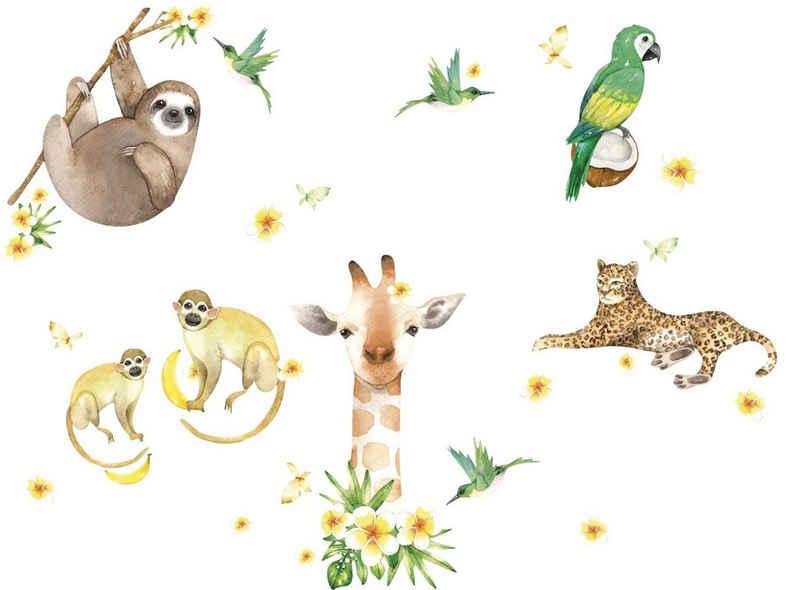 "anna wand Wandsticker »""Jolly Jungle"" grün/gelb/beige - Wandtattoo Dschungeltiere«"
