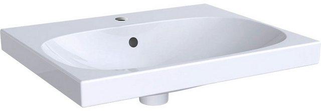 Waschtische - GEBERIT Waschbecken »Smyle«, mit Hahnloch, mit Überlauf, weiß, KeraTect  - Onlineshop OTTO