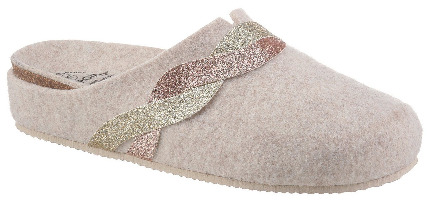 Hausschuhe - BIO POINT Pantoffel mit Metallic Verzierung ›  - Onlineshop OTTO