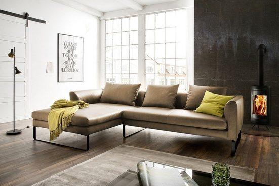 KAWOLA Sofa »VOLA«, Leder Ecksofa Leder grün Recamiere rechts o. links
