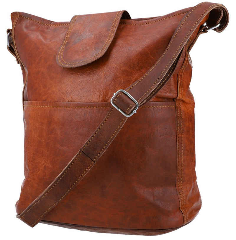 Gusti Leder Umhängetasche »Jacqueline«, Ledertasche Shopper Handtasche Leder Damen Vintage Braun