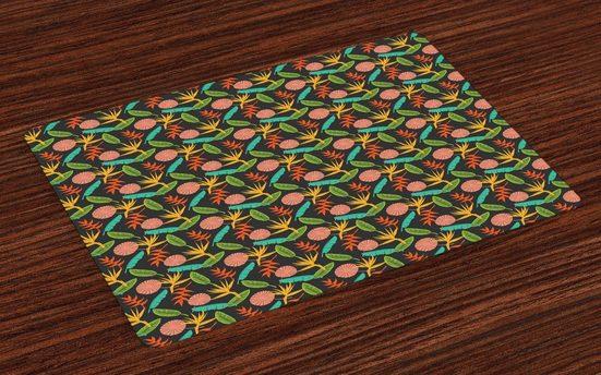 Tischdecke, »Waschbare Stoff Esszimmer Küche Tischdekorations Digitaldruck«, Abakuhaus, (4-teilig, 4 Teilig-St., Set aus 4x), Botanik Abstrakt Exotische Garten-Szene