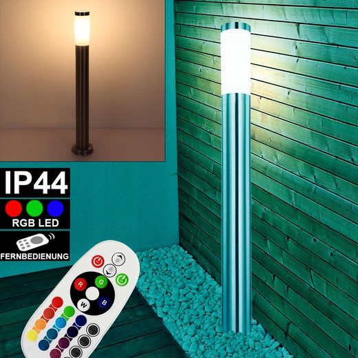 etc-shop LED Außen-Stehlampe, Edelstahl Steh Lampe FERNBEDIENUNG Garten Außen Leuchte DIMMBAR im Set inkl. RGB LED Leuchtmittel