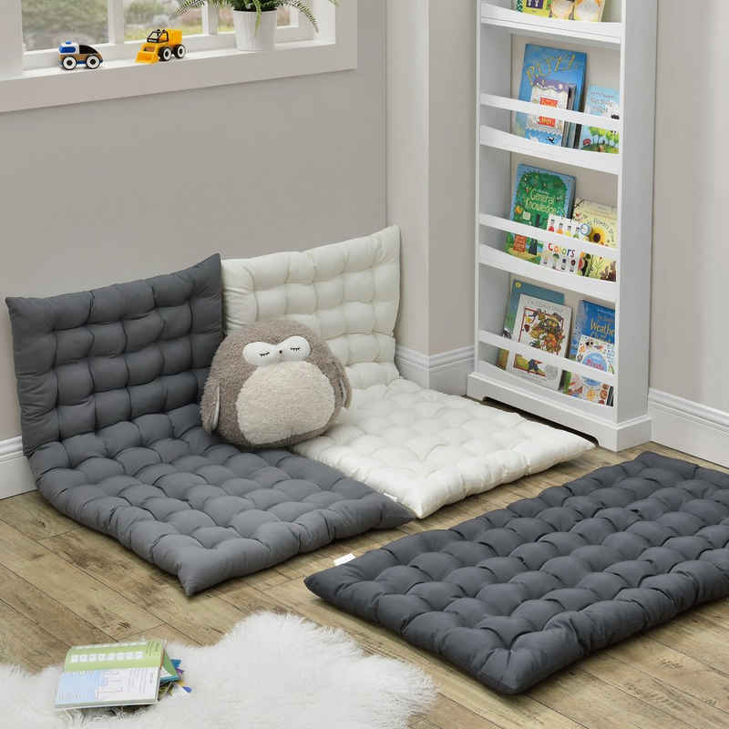 en.casa Bodenkissen, »Espoo« Bodenmatratze für Kinderzimmer Sitzecke 120x60cm dunkelgrau