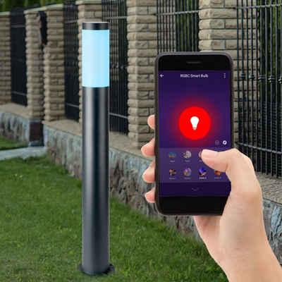 etc-shop LED Außen-Stehlampe, Smart RGB LED Edelstahl Steh Lampe ANTHRAZIT Garten Weg Leuchte DIMMBAR steuerbar über Handy