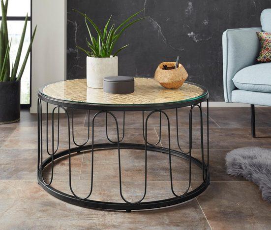 Home affaire Couchtisch »Sudbury«, aus geflochtener Wasserhyazinthe, mit einer Glastischplatte, mit einem schwarzen Metallgestell, Durchmesser 80 cm