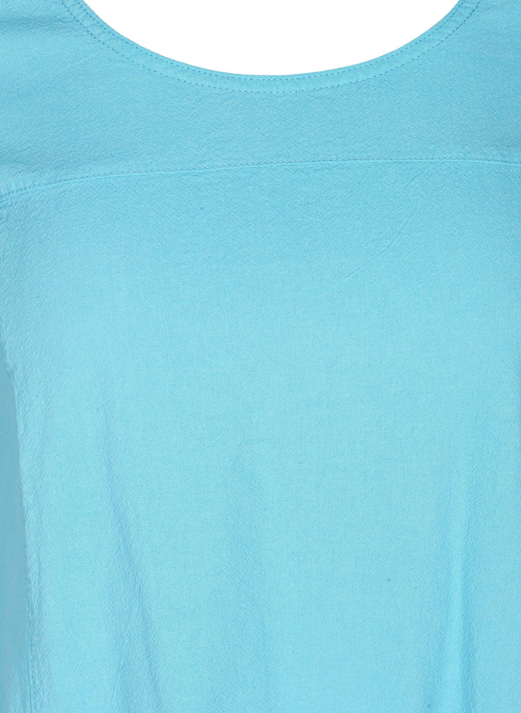Zizzi Blusenkleid Große Größen Damen Kurzarm Kleid aus Baumwolle mit Rundhalsausschnitt und Taschen