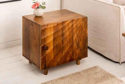 riess-ambiente Nachttisch »SCORPION 50cm braun«, Nachtschrank · Massivholz · mit 3D Schnitzereien · Beistelltisch · Mangoholz