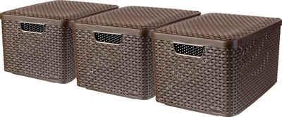 Curver Aufbewahrungsbox »Style Box L« (Set, 3 Stück), dunkelbraun