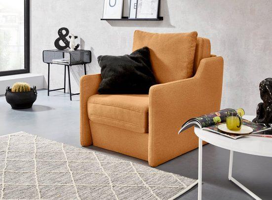 INOSIGN Sessel »Tiny Alpha Sessel«, Sessel mit integriertem Hocker, der bei Bedarf extra gestellt werden kann
