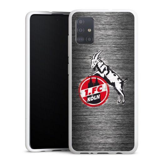 DeinDesign Handyhülle »Metal Scratch 1.FC« Samsung Galaxy A51, Hülle Fußball Metallic Look Offizielles Lizenzprodukt