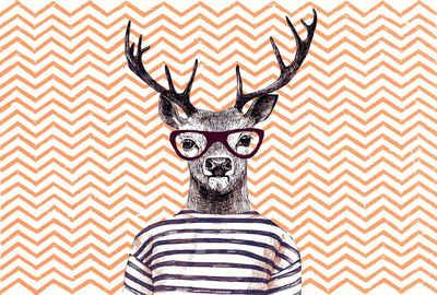 Architects Paper Fototapete »Atelier 47 Modern Deer 3«, glatt, abstrakt, (4 St)