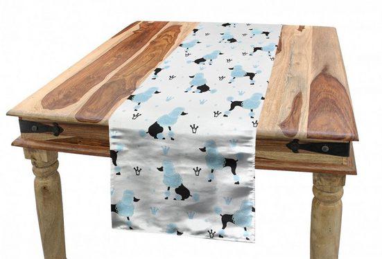 Abakuhaus Tischläufer »Esszimmer Küche Rechteckiger Dekorativer Tischläufer«, Pudel Kronen Hand Drawn Fluffy Hund