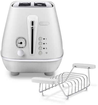 De'Longhi Toaster Distinta Moments CTIN 2103.W – Sunrise White, 2 kurze Schlitze, für 2 Scheiben, 900 W